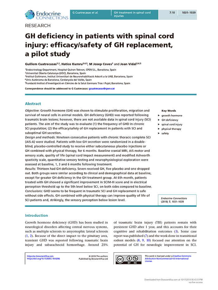 GH deficiency in patients with spinal cord injury: efficacy/safety of GH replacement, a pilot study